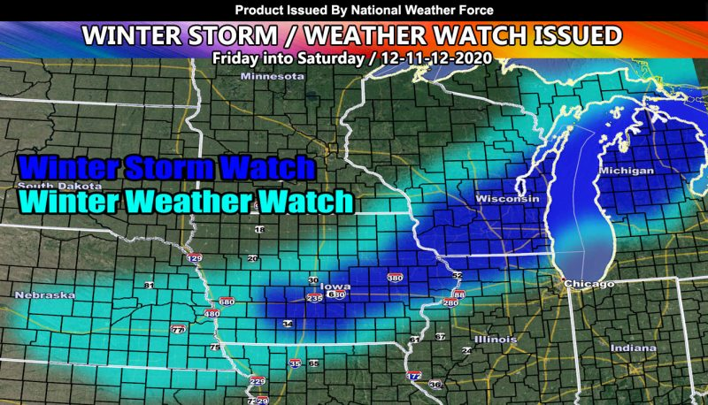 Winter Storm and Winter Weather Watch Issued From Nebraska to Michigan Friday and Saturday; Details