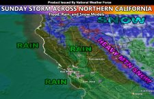 Sunday Storm System Into Northern California; Rain, Flood Risk, and Snow Forecast Models Included