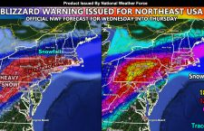 Blizzard Warning Issued For Parts Of The Northeastern United States Wednesday into Thursday With Category 2 or 3 Event