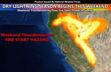 Dry Lightning Warning:  Weekend Thunderstorms Pose Wildfire Start Threat In Across California Mountains