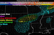 Double Tornado Watch Issued On Anniversary of May 3, 1999 Tornado Outbreak In Tornado Alley; Strong Tornadoes Target Oklahoma and Arkansas, Especially Fort Smith